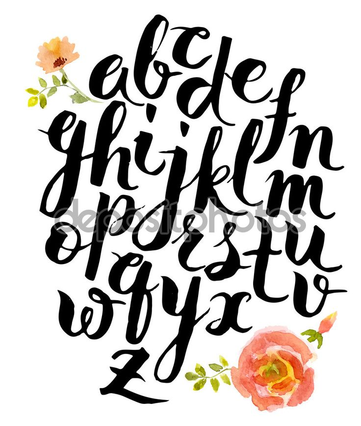 Hand drawn alphabet written with brush pen. Letters are decorated with watercolor flowers.