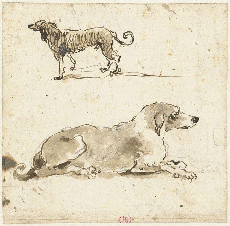 Francesco Guardi   Liggende en een lopende hond, Francesco Guardi, 1722 - 1792  
