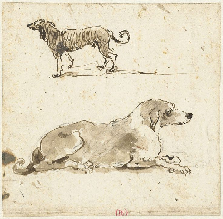Francesco Guardi | Liggende en een lopende hond, Francesco Guardi, 1722 - 1792 |