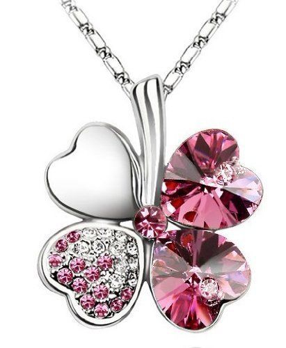 SALE...BIDS FROM £6.99....Pink Crystal Four Leaf Clover Heart Shape Swarovski Elements Necklace