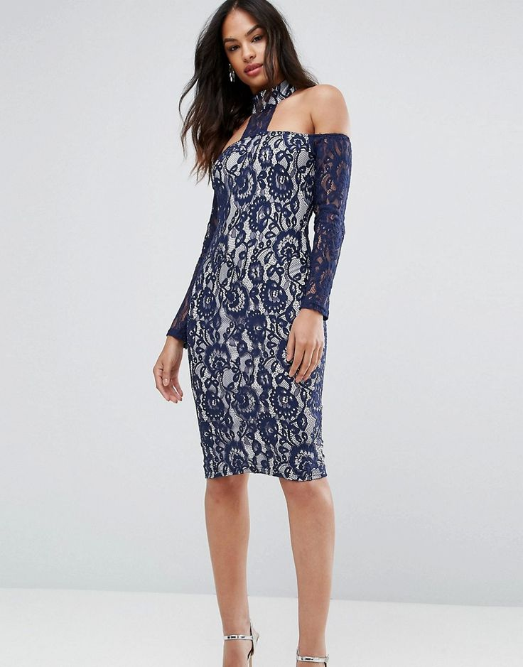 Ax Paris Navy Long Sleeved Bardot Midi Dress - Multi