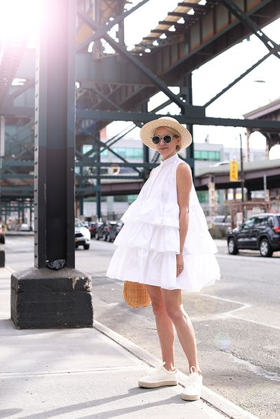 $87 ASOS Oversized Ruffled Detail White Sleeveless Rah-Rah Style Mini Dress Matched With Cool Cat Eye Sunglasses And An Old School Style Beige Woven Round Sun Hat Tumblr
