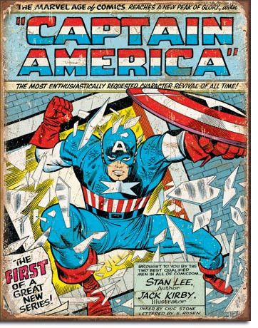 Captain America Cover - Vintage Tin Sign
