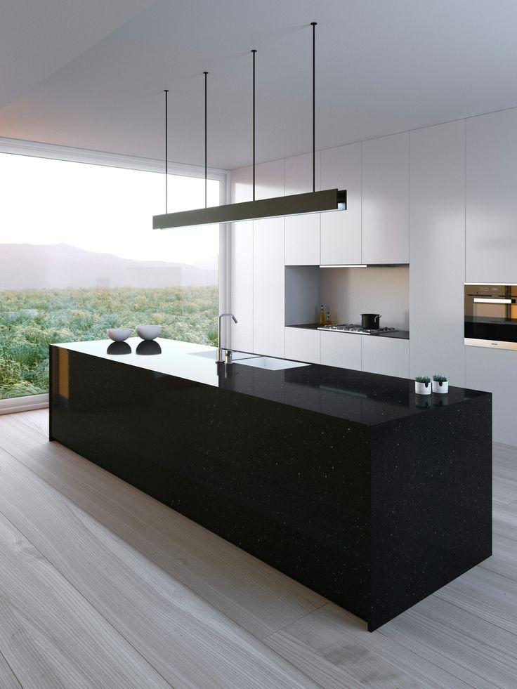 Exemplo de um projeto de cozinha de conceito aberto minimalista de tamanho médio de …   – Küche
