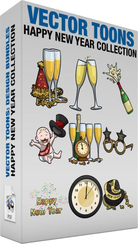 Happy New Year Collection:  Bundle of images includes the following:  Two Glasses Of Champagne For The New Year Two glass flutes filled with golden champagne placed on a surface together with a red with gold party hat and spiral ribbons  A Champagne Toast Two glass flutes filled with golden champagne drink clinking together for a toast  A Popping Champagne Bottle A green glass bottle of champagne with gold labels and red neck cork popping out as its contents spill out to celebrate an event…