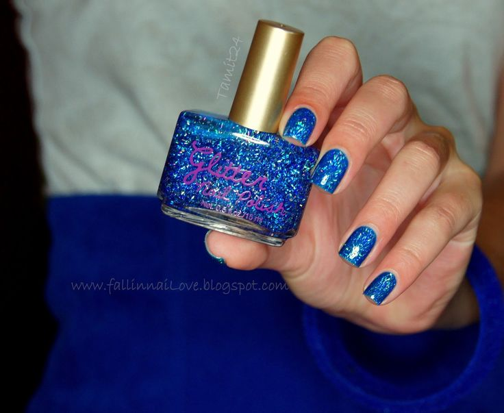Blue glitter by H Feather polish glamorous.
