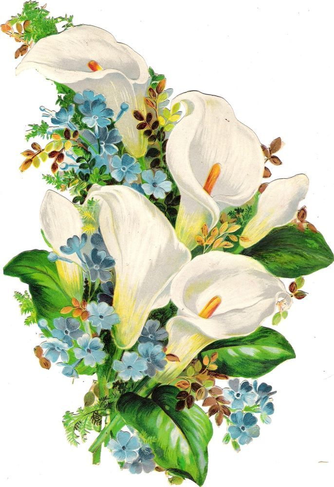 Oblaten Glanzbild scrap die cut  chromo Blume flower  28cm  Bouquet