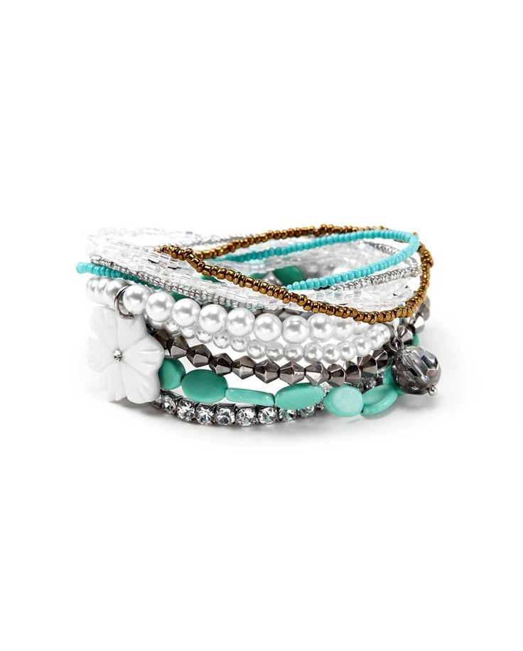 SMART SET - Collection - FAUX STONE AND PEARL BRACELET SET