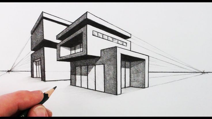 How To Draw A House In Two Point Perspective Modern House With