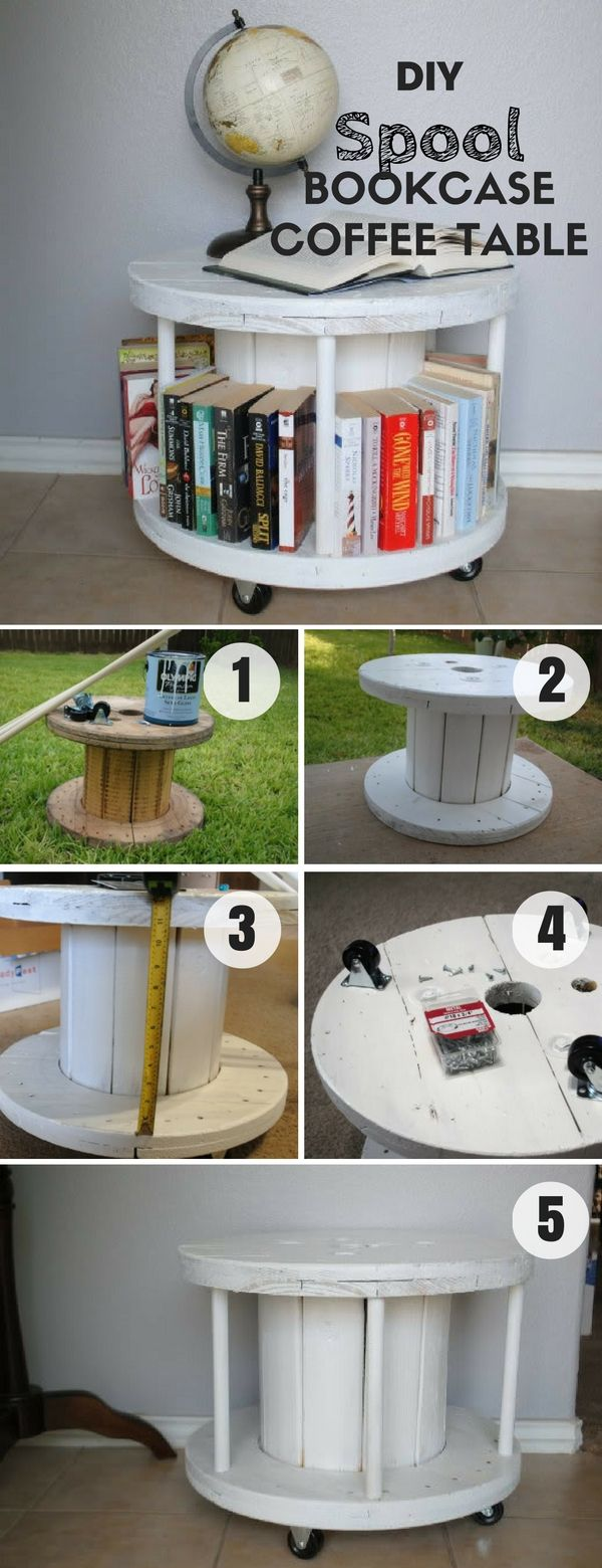 Check out how easy it is to build this DIY Spool Bookcase Coffee Table…