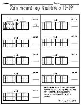 Using & Representing Numbers 11-19: A Set of 2 Common Core Math Centers  These centers correspond to the following CC Math Standard:  NBT1 We can count to 120, starting at any number less that 120 and read and write numerals and represent a number of objects with a written numeral.
