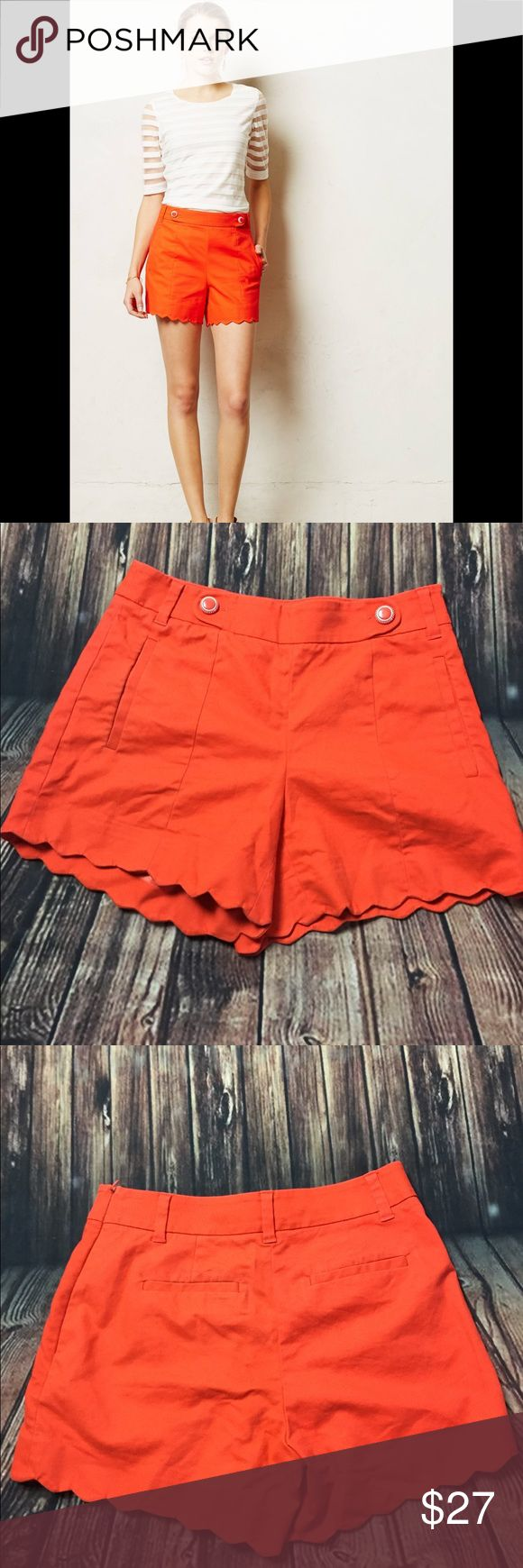 "Anthropologie Cartonnier Scalloped Sailor Shorts Like new conditionAnthropologie Cartonnier Orange Shorts, Women's Size 0 Scalloped bottom hem Front, back welt pockets Cotton, spandex Machine wash 4.5"" inseam Imported Anthropologie Shorts"