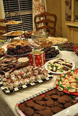 "Previous Pinner wrote: ""Some good ideas on Cookie exchange parties........ I'm planning mine already. We do a yearly Holiday Open House with about 30 guests. By combining the two parties - dessert is taken care of and everyone gets to take cookies home."""