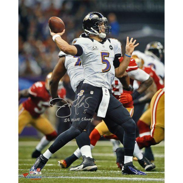 "Joe Flacco Baltimore Ravens Fanatics Authentic Autographed 16"" x 20"" Super Bowl XLVII Champions Photograph with Super Bowl XLVII Champ Inscription - $347.99"