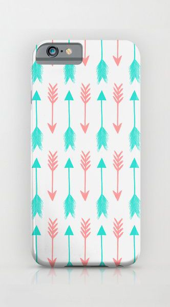 Sketchy Mint & Coral Arrows iPhone & iPod Case
