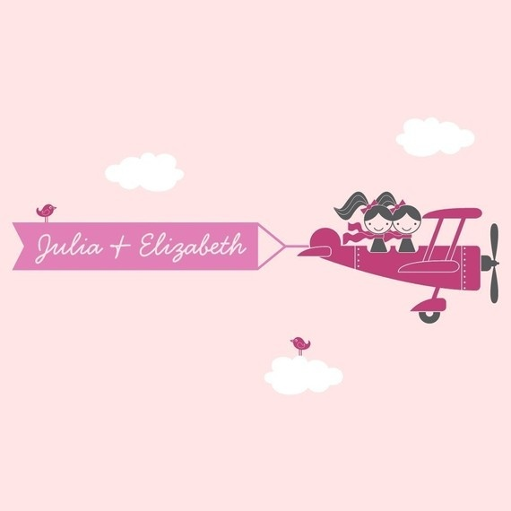 Airplane TwinSeater Banner Vinyl Wall Decal by graphicspaces, $55.00