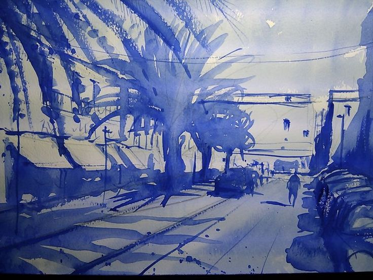 My blue Olhao painting