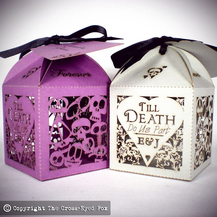 x20 Skulls & Hearts Personalised Favour Boxes by TheCrossEyedFox on Etsy https://www.etsy.com/listing/216839027/x20-skulls-hearts-personalised-favour