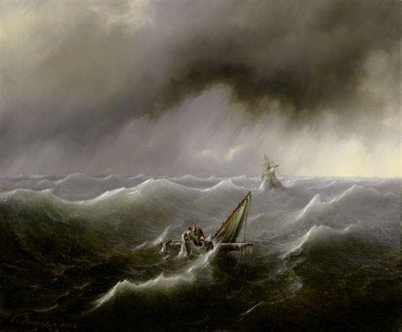 Artwork by Ludwig von Kemnitz, Stürmische See mit Schiffbrüchigen, Made of oil on canvas