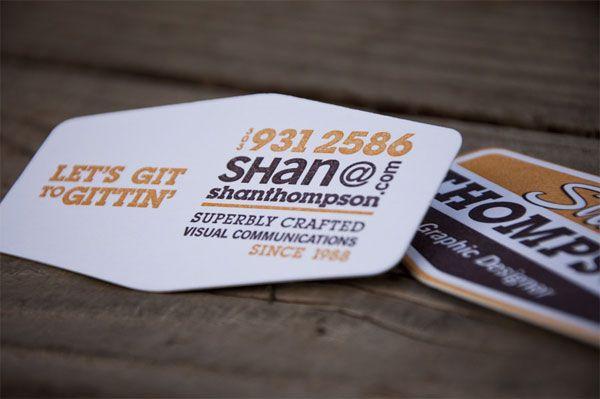 Shan Thompson Die Cut Business Card via FPO