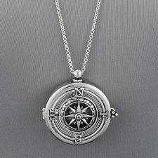 Long Silver Chain Unique Compass Magnifying Glass Pendant Necklace