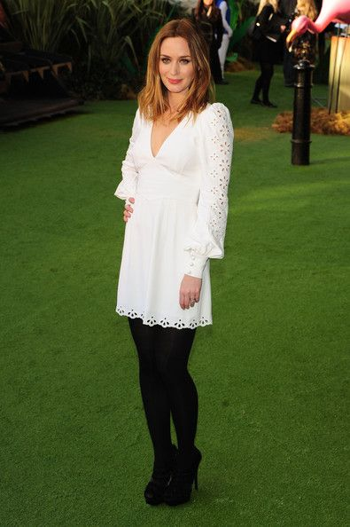 Love Emily Blunt's outfit here. White eyelet dress with black tights and heels.