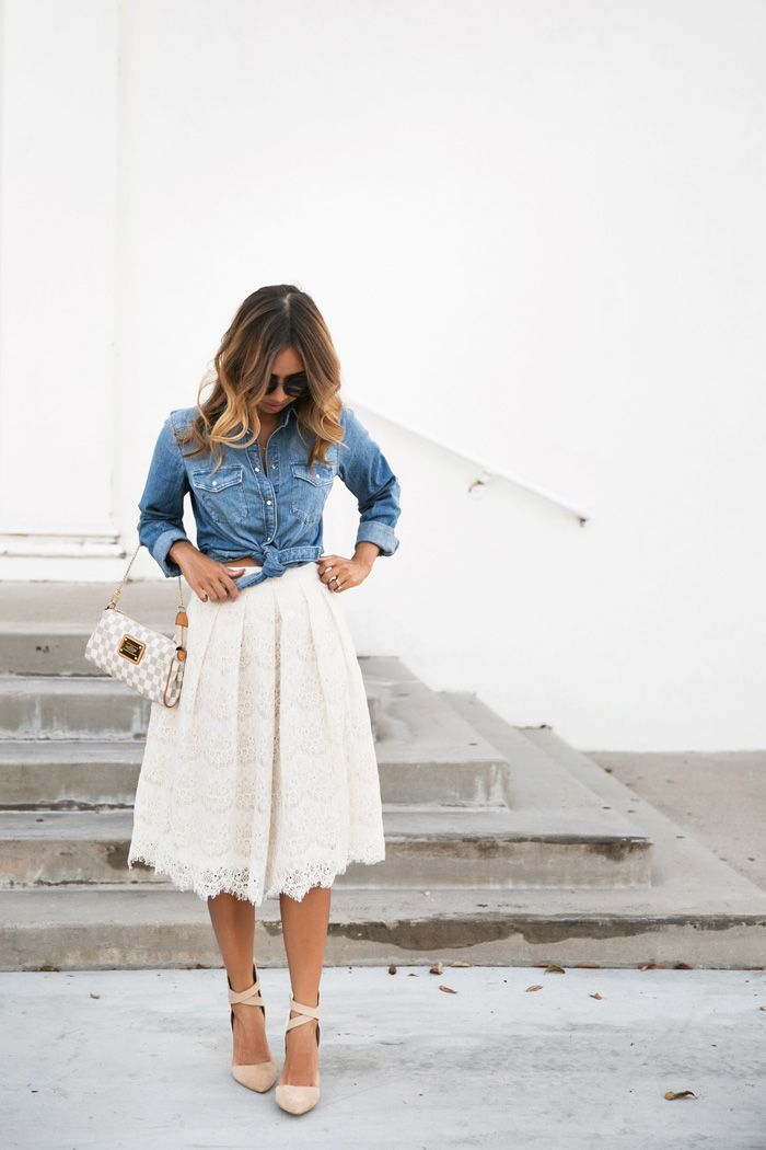 petite fashion blog, lace and locks, los angeles fashion blogger, lace midi skirt, denim and lace outfit, morning lavender lace skirt, cute midi skirts for women