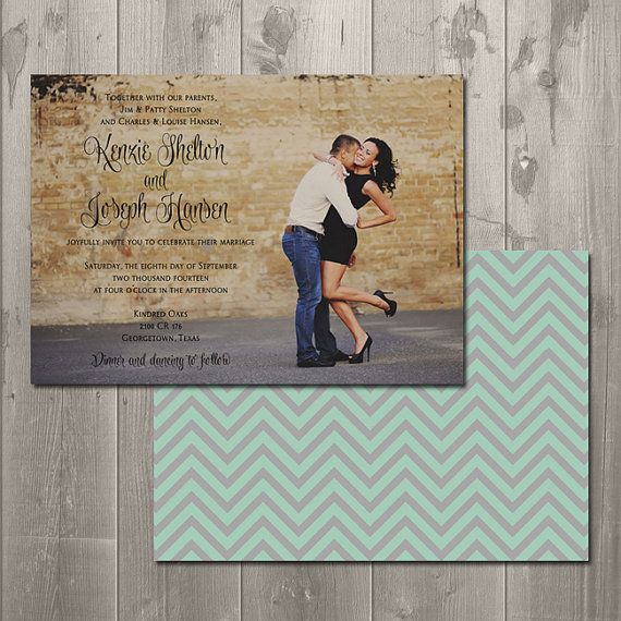 DIY Printable Photo Wedding Invitation $15.00 Customizable colors and patterns available!