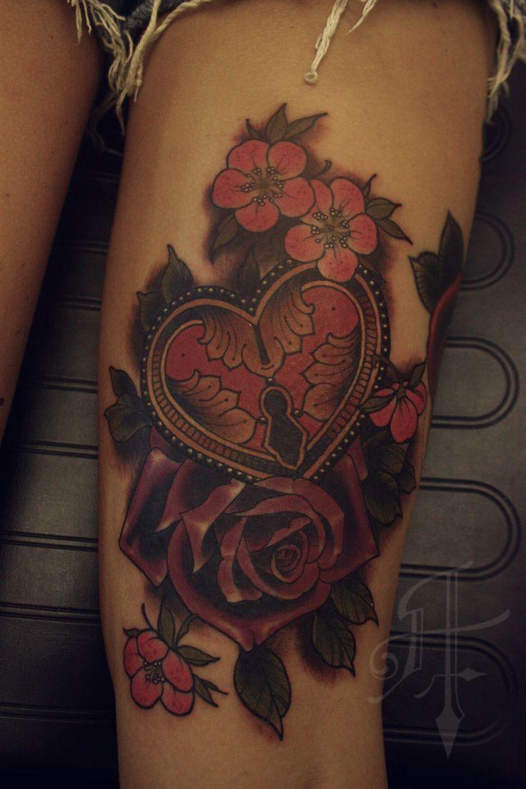 Rose and lock tattoo | faboo tattoo | Pinterest