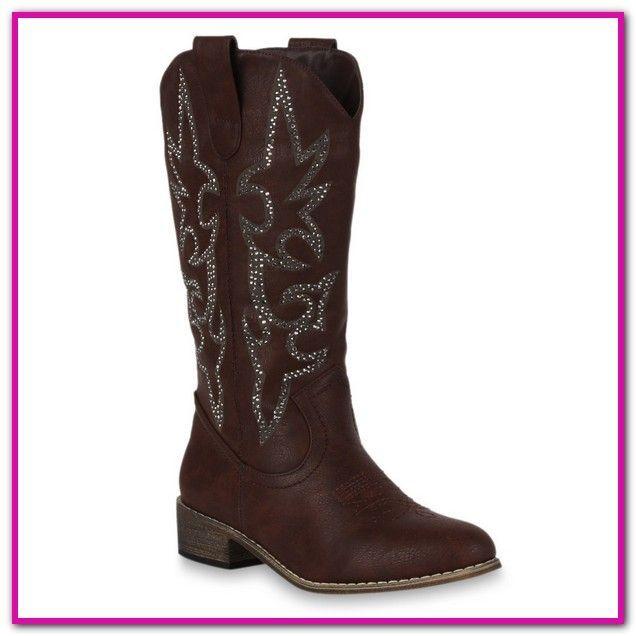 8d28157e29a595 Schuhe Damen Flach - Cowboy Stiefel Weiter Schaft-SHOWHOW Damen Spitz Zehen  Trichterabsatz Weitschaft.