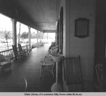 Front porch of the museum at Asphodel plantation in Saint Francisville Louisiana in 1970 :: State Library of Louisiana Historic Photograph Collection
