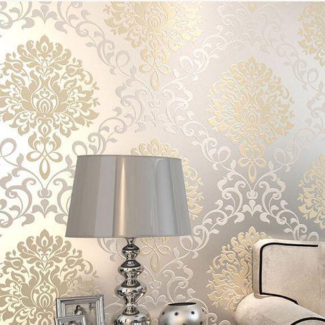 Europa clásicos damasco diseños glitter papel tapiz para pared dormitorio papel de parede 3d moderno