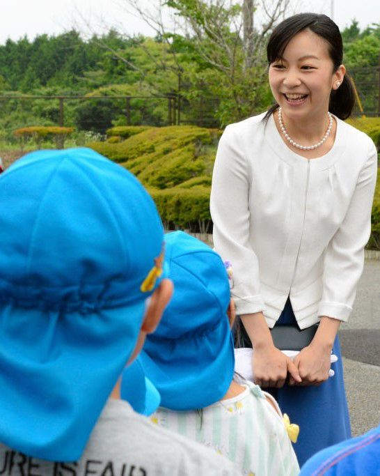 Princess Kako of Akishino talks with kindergarten children on arrival at the 51st All Japan High School Equestrian Championships at the Gotemba City Equestrian Sports Center on July 25, 2017 in Gotemba, Shizuoka, Japan.
