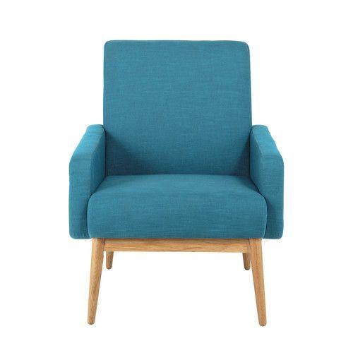 Blauwgroene stoffen vintage zetel - Kelton