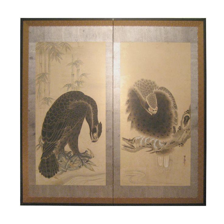 Japanese Screen with HawksCentury Painting, Hands Painting, Painting Hawks, Hawks Totems, Japanese Painting, Hawks Byobu, Furniture Painting, Art Furniture, Furniture Byōbu