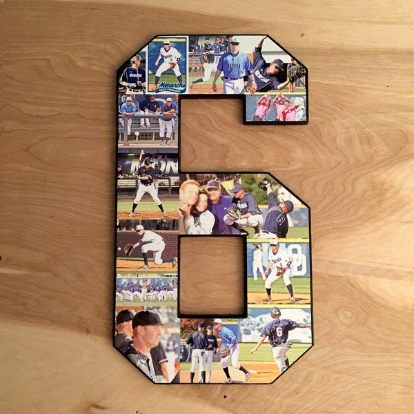Number Collage, Block font, 18 inches. Perfect sports keepsake for your favorite athletes. Moms, get the tissues! Senior Night, senior day, senior recognition, graduation, thought gifts for boyfriend from the best girlfriend ever. See more at The Collage And Wood Shop, www.collageandwood.com