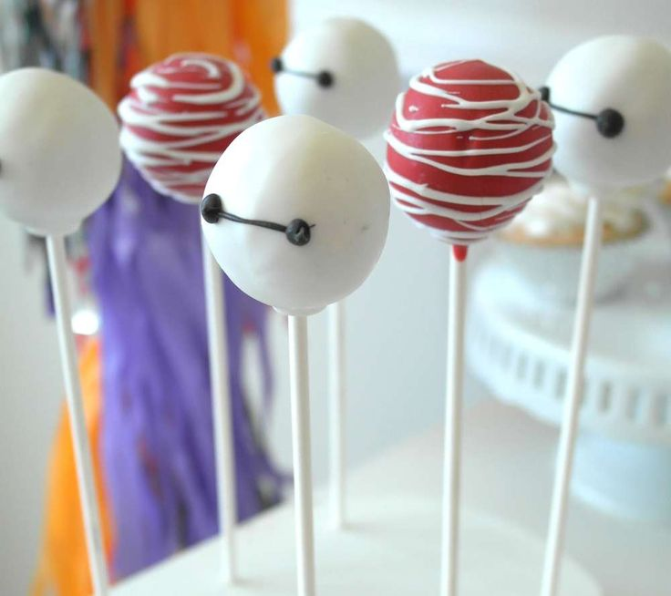 Cool cake pops at a Big Hero 6 birthday party! See more party planning ideas at CatchMyParty.com!