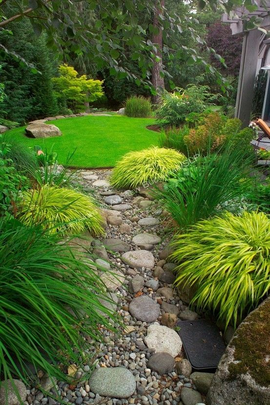 Serene Garden Designed by Sander Groves landscapes, Inc.~ The dry streambed of river rocks that seems to flow from one lawn-pond to the other in the upper, contemplative area of this small suburban backyard east of Seattle.
