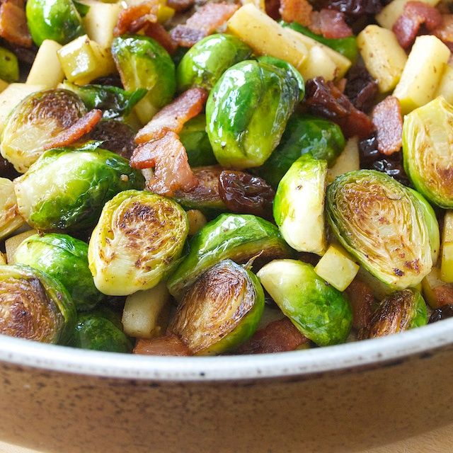 Brussel sprouts with bacon, apples & cherries (I added chia seeds ...