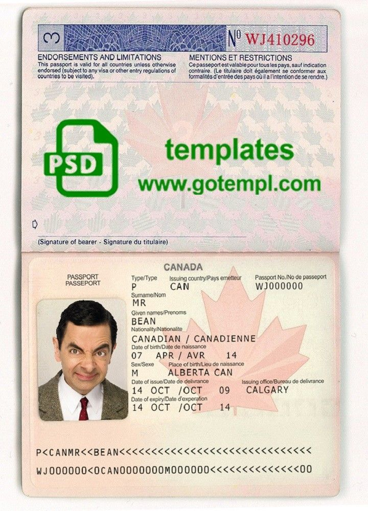 canada passport template in psd format fully editable