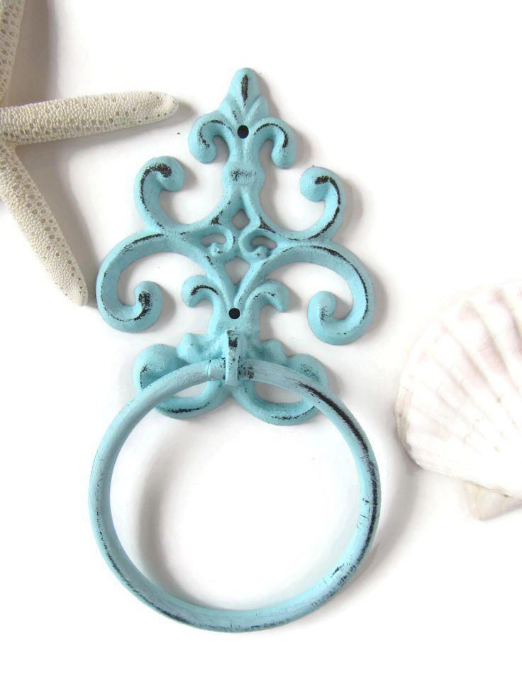 Shabby Chic Towel Ring / Blue Cast Iron Scroll Bathroom Decor / Beach Cottage Towel Rack / French Cottage Bathroom Rack / Rustic Towel Hook by ShabbyAnchor on Etsy https://www.etsy.com/listing/199983857/shabby-chic-towel-ring-blue-cast-iron