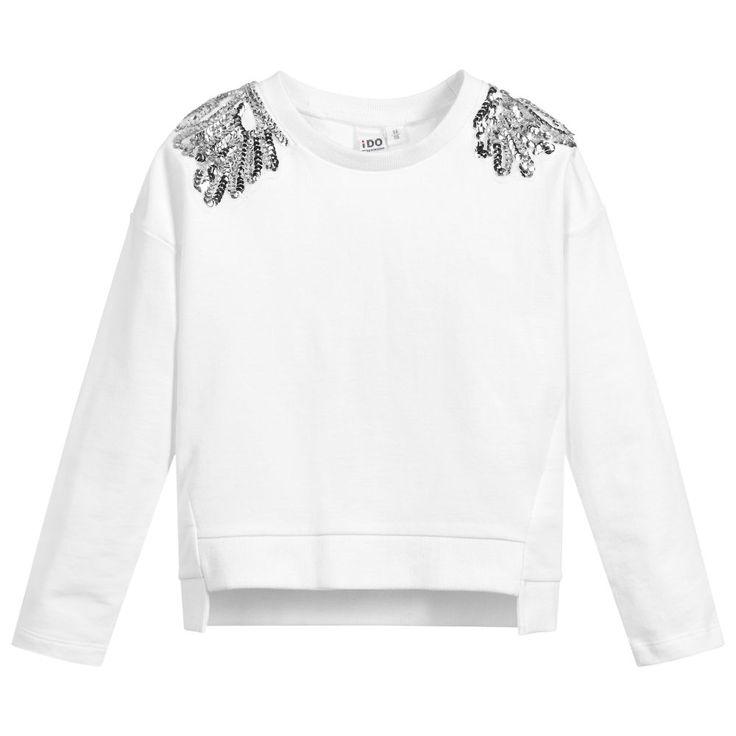 iDO White Sequinned Sweatshirt at Childrensalon.com