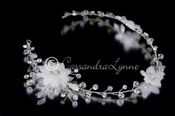 Bridal Hair Vine Headband of Flowers and Crystal Beads