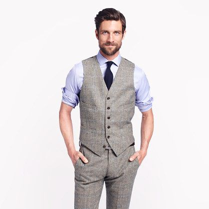 The tweed or wool suit - The Ludlow Shop at J.Crew is a great place to look.