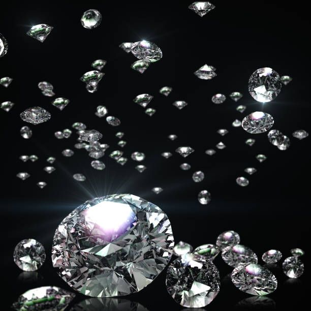 Three Dimensional Design Of Falling Brilliants Crystal Background Diamond Background Abstract Backgrounds