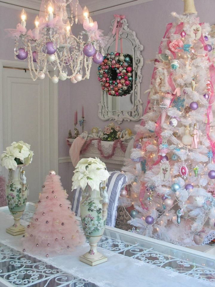 pink and fluffy: Holiday, White Christmas Trees, Little Girls, Sugar Plum, Pink Christmas, Shabby Chic Christmas, Pastel Christmas, Christmas Decor, Victorian Christmas