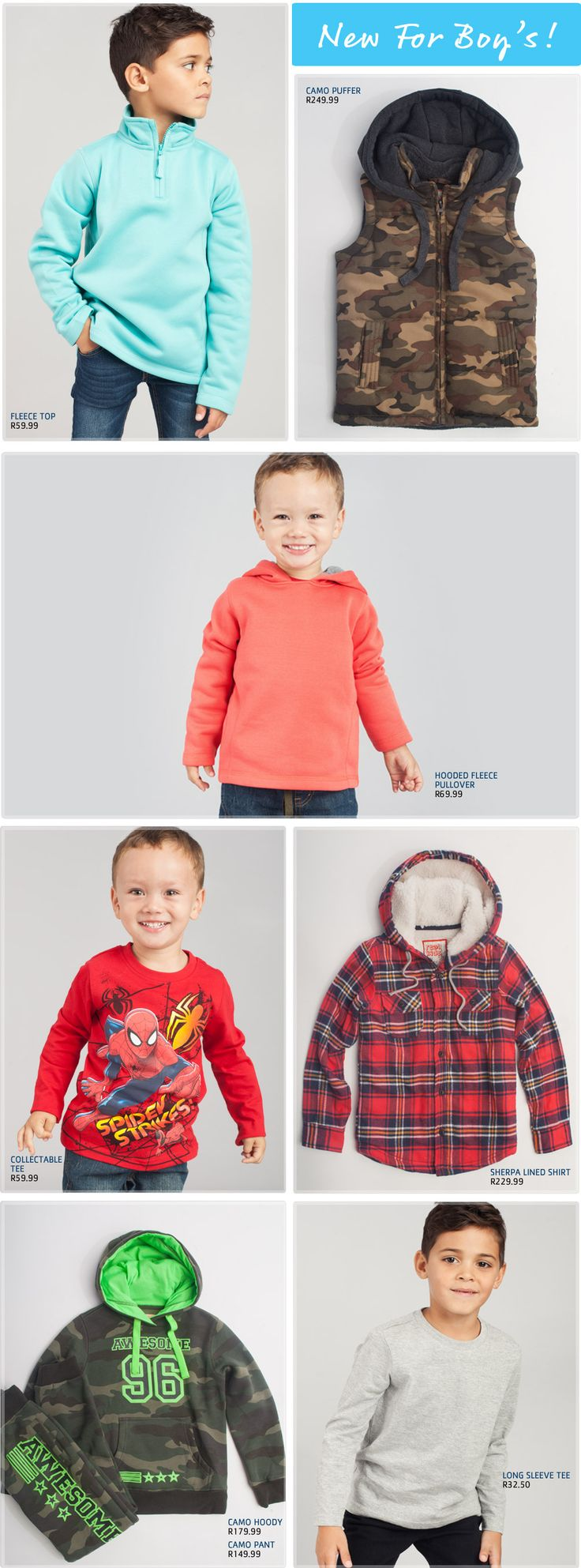 Clothing Boys - Pick n Pay Get him winter ready with this gear, winter jackets are crucial for going outdoors in winter time, and even the last few weeks of autumn, can be equally chilly. Beat the runny noses with our range of jackets and warm winter pants
