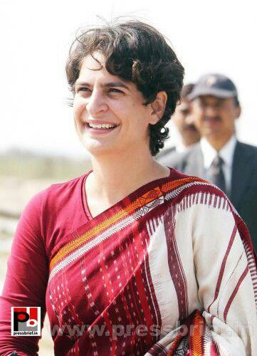 Priyanka Gandhi in what appears to be a Kotpad/Sambalpuri cotton