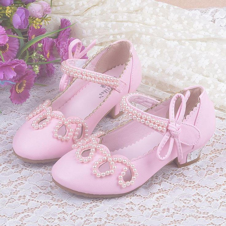 Barato Novas Crianças Sandalen Meisjes Sapatos de Salto Alto Para Crianças Frisado Arco Meninas Princesa…