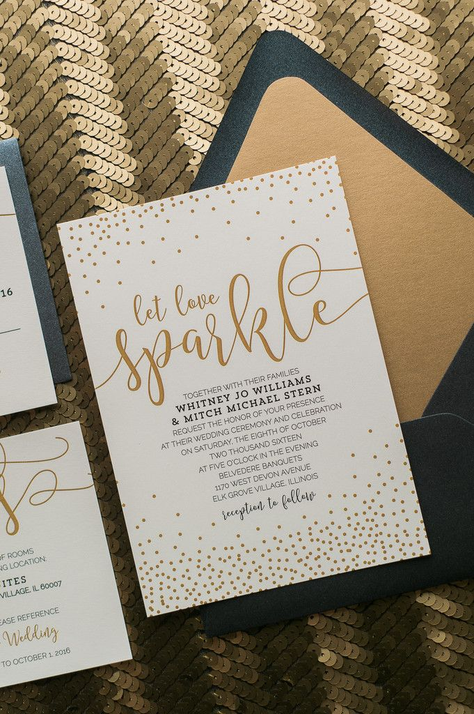 Let Love Sparkle! Fabulous Black and Gold Confetti Modern Wedding Invitations. WHITNEY Romantic Collection by Just Invite Me